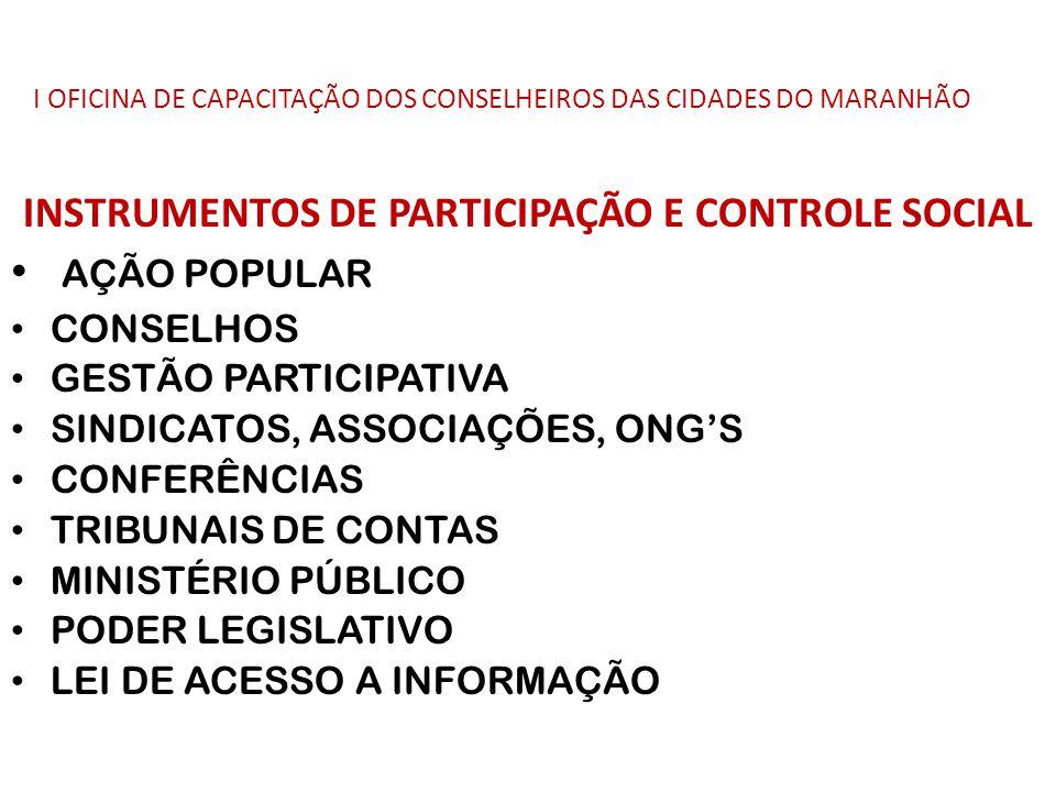 I OFICINA DE CAPACITAÇÃO DOS CONSELHEIROS DAS CIDADES DO MARANHÃO INSTRUMENTOS DE PARTICIPAÇÃO E CONTROLE SOCIAL AÇÃO POPULAR CONSELHOS GESTÃO PARTICI