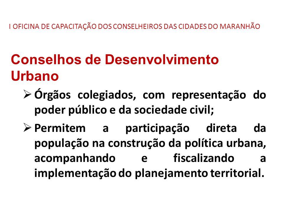 I OFICINA DE CAPACITAÇÃO DOS CONSELHEIROS DAS CIDADES DO MARANHÃO Conselhos de Desenvolvimento Urbano  Órgãos colegiados, com representação do poder