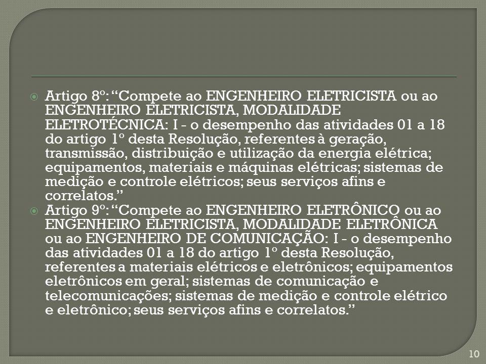  Artigo 8º: Compete ao ENGENHEIRO ELETRICISTA ou ao ENGENHEIRO ELETRICISTA, MODALIDADE ELETROTÉCNICA: I - o desempenho das atividades 01 a 18 do artigo 1º desta Resolução, referentes à geração, transmissão, distribuição e utilização da energia elétrica; equipamentos, materiais e máquinas elétricas; sistemas de medição e controle elétricos; seus serviços afins e correlatos.  Artigo 9º: Compete ao ENGENHEIRO ELETRÔNICO ou ao ENGENHEIRO ELETRICISTA, MODALIDADE ELETRÔNICA ou ao ENGENHEIRO DE COMUNICAÇÃO: I - o desempenho das atividades 01 a 18 do artigo 1º desta Resolução, referentes a materiais elétricos e eletrônicos; equipamentos eletrônicos em geral; sistemas de comunicação e telecomunicações; sistemas de medição e controle elétrico e eletrônico; seus serviços afins e correlatos. 10