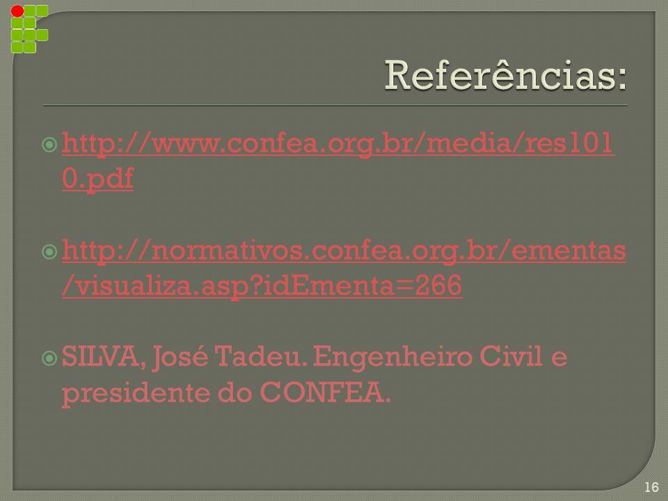  http://www.confea.org.br/media/res101 0.pdf http://www.confea.org.br/media/res101 0.pdf  http://normativos.confea.org.br/ementas /visualiza.asp?idEmenta=266 http://normativos.confea.org.br/ementas /visualiza.asp?idEmenta=266  SILVA, José Tadeu.