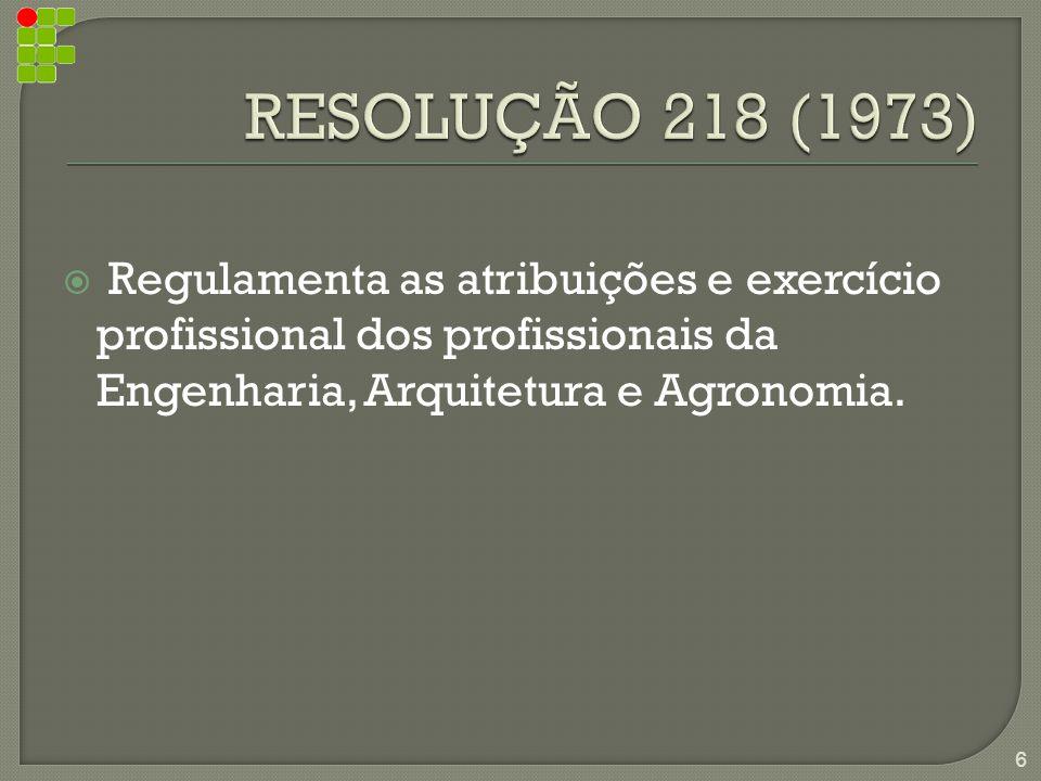  Regulamenta as atribuições e exercício profissional dos profissionais da Engenharia, Arquitetura e Agronomia.