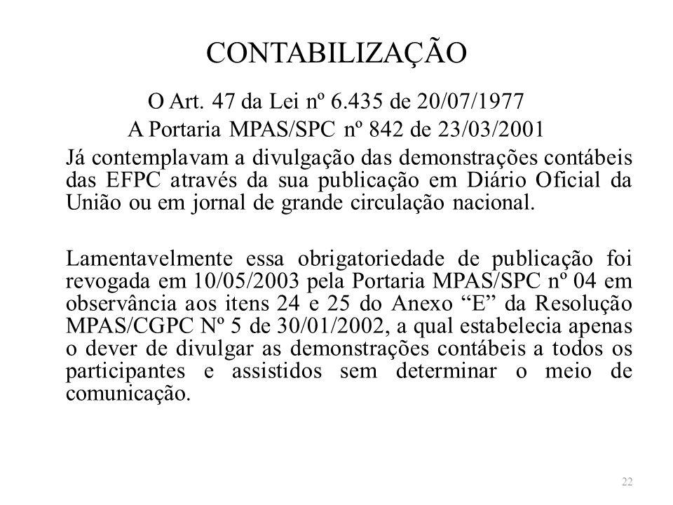 CONTABILIZAÇÃO O Art. 47 da Lei nº 6.435 de 20/07/1977 A Portaria MPAS/SPC nº 842 de 23/03/2001 Já contemplavam a divulgação das demonstrações contábe