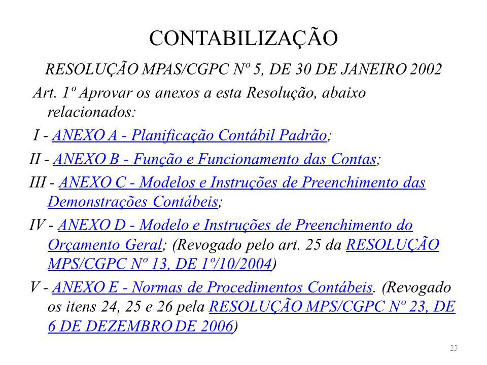 CONTABILIZAÇÃO RESOLUÇÃO MPAS/CGPC Nº 5, DE 30 DE JANEIRO 2002 Art. 1º Aprovar os anexos a esta Resolução, abaixo relacionados: I - ANEXO A - Planific