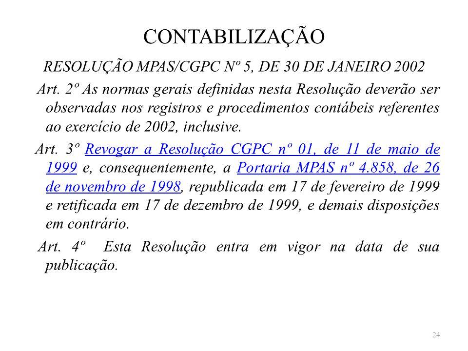 CONTABILIZAÇÃO RESOLUÇÃO MPAS/CGPC Nº 5, DE 30 DE JANEIRO 2002 Art. 2º As normas gerais definidas nesta Resolução deverão ser observadas nos registros