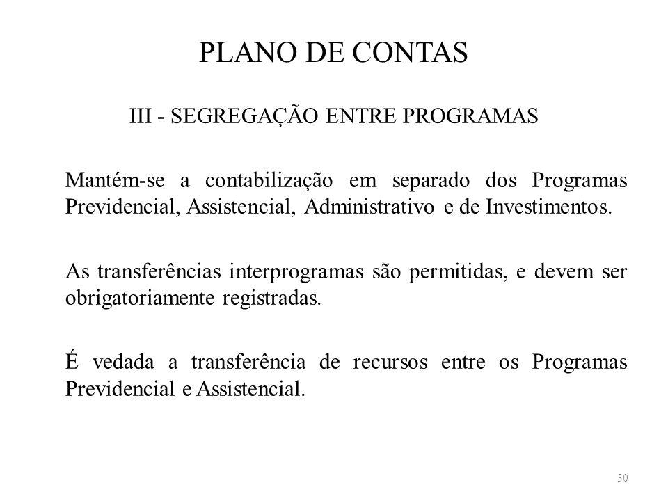 PLANO DE CONTAS III - SEGREGAÇÃO ENTRE PROGRAMAS Mantém-se a contabilização em separado dos Programas Previdencial, Assistencial, Administrativo e de
