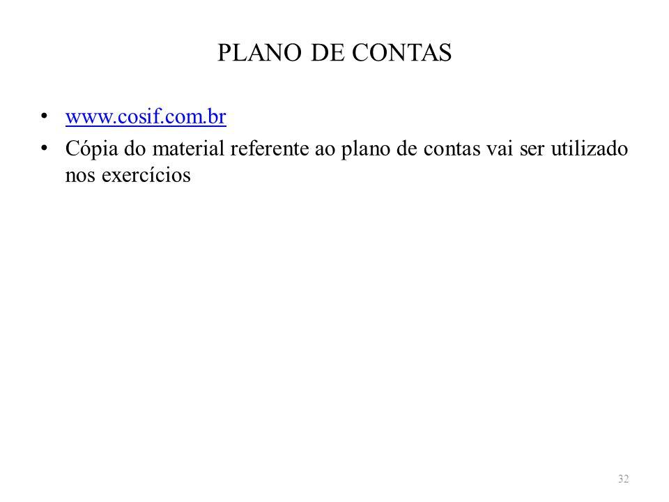 PLANO DE CONTAS www.cosif.com.br Cópia do material referente ao plano de contas vai ser utilizado nos exercícios 32