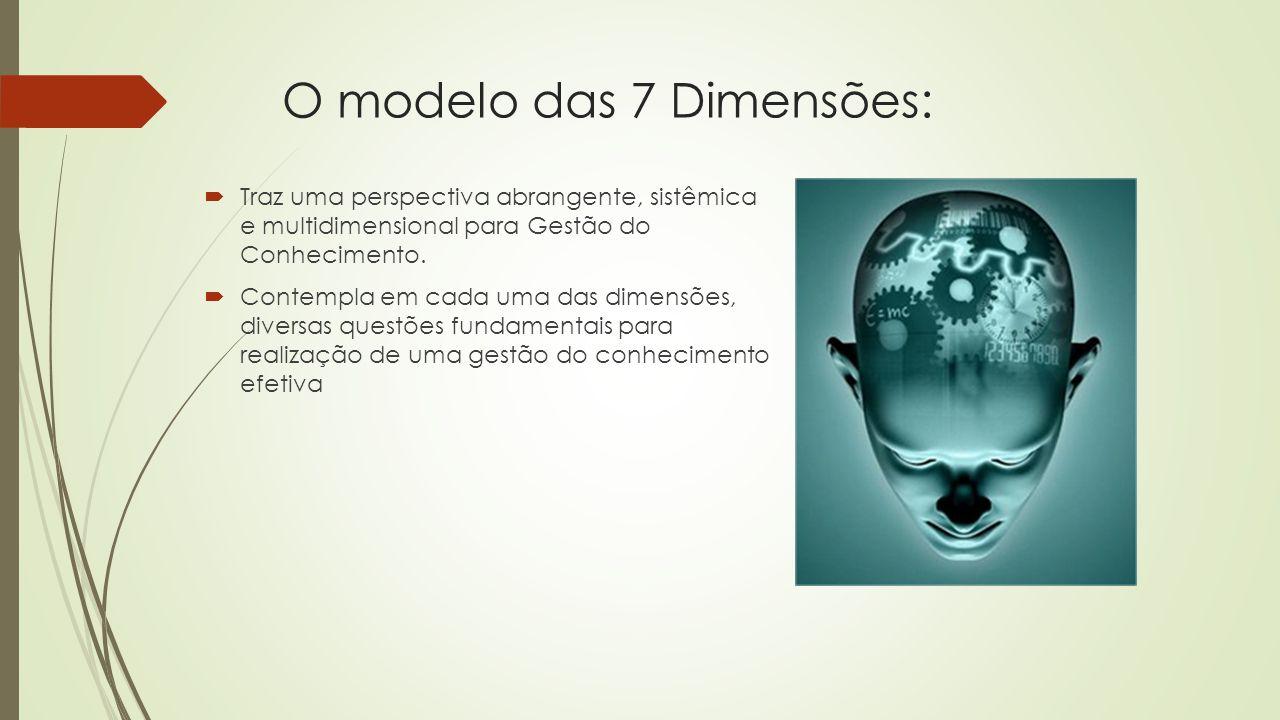 O Modelo das 7 Dimensões:  D1 - Estratégia e Alta Administração - Nível Estratégico  D2 - Cultura Organizacional - Nível Organizacional  D3 - Organização e Processos de Trabalho - Nível Organizacional  D4 - Políticas e práticas para a administração de Recursos Humanos - Nível Organizacional  D5 - Sistemas de Informação e Comunicação - Nível de Infraestrutura  D6 - Mensuração do Resultado - Nível de Infraestrutura  D7 - Aprendizado com o Ambiente - Nível Ambiental