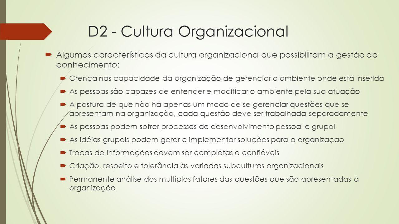 D2 - Cultura Organizacional  A essencia da cultura organizacional está localizada no domínio psiquico dos colaboradores  Arquétipos:  Modelos que servem de orientação aos pensamentos.