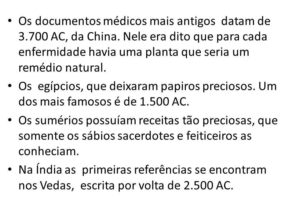 Os documentos médicos mais antigos datam de 3.700 AC, da China. Nele era dito que para cada enfermidade havia uma planta que seria um remédio natural.