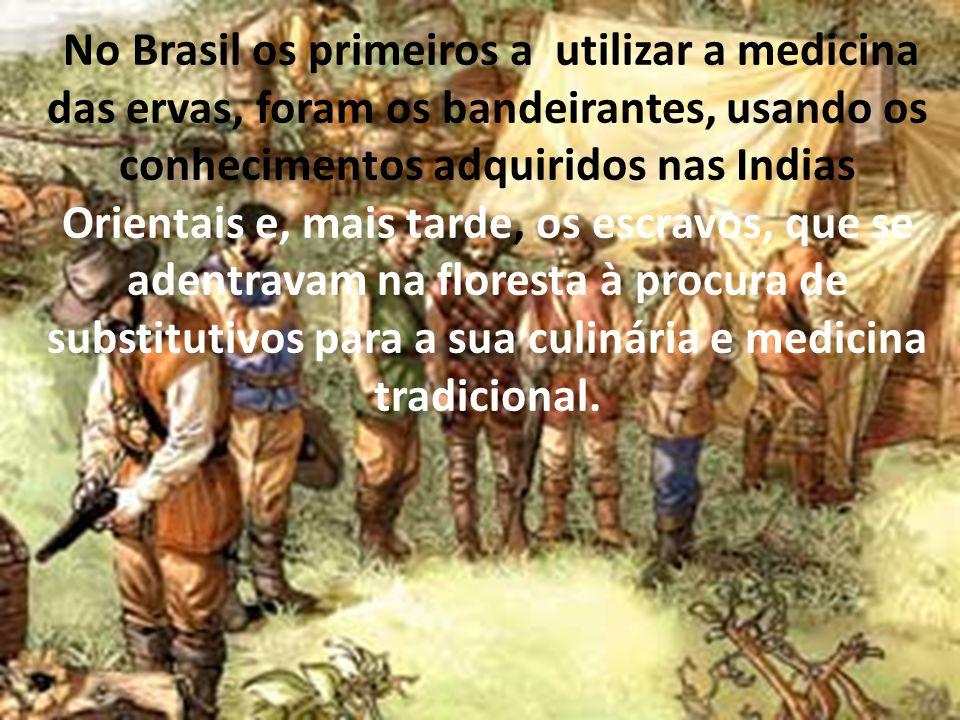 No Brasil os primeiros a utilizar a medicina das ervas, foram os bandeirantes, usando os conhecimentos adquiridos nas Indias Orientais e, mais tarde,