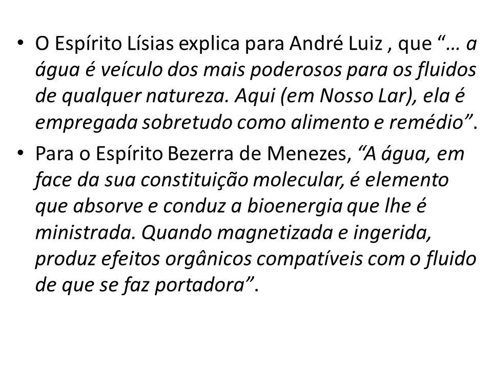 """O Espírito Lísias explica para André Luiz, que """"… a água é veículo dos mais poderosos para os fluidos de qualquer natureza. Aqui (em Nosso Lar), ela é"""