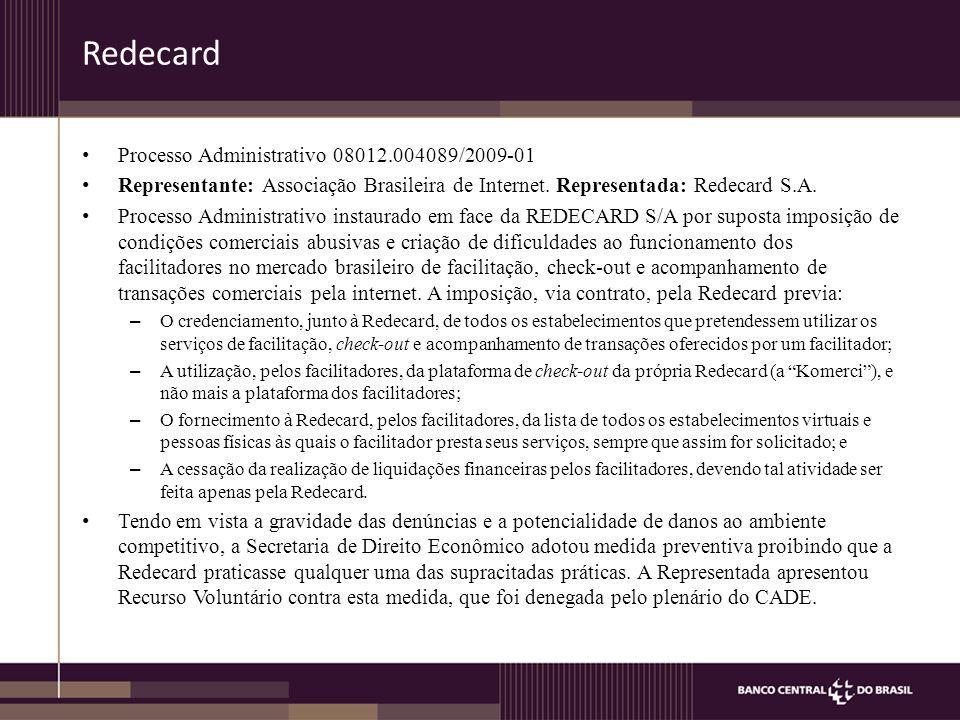 Redecard Processo Administrativo 08012.004089/2009-01 Representante: Associação Brasileira de Internet.