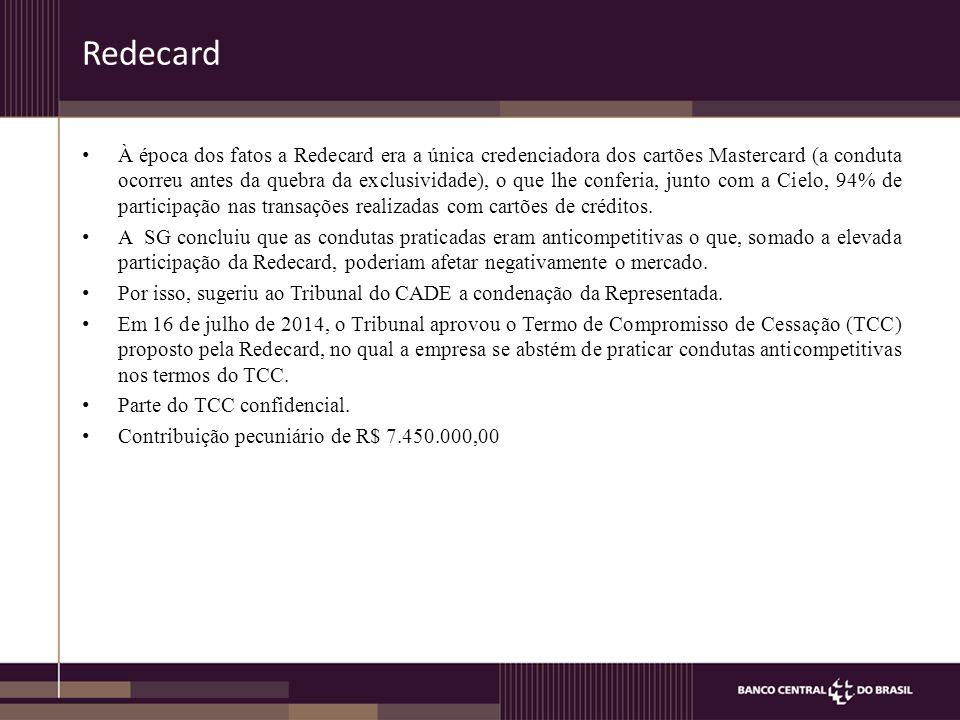 À época dos fatos a Redecard era a única credenciadora dos cartões Mastercard (a conduta ocorreu antes da quebra da exclusividade), o que lhe conferia, junto com a Cielo, 94% de participação nas transações realizadas com cartões de créditos.