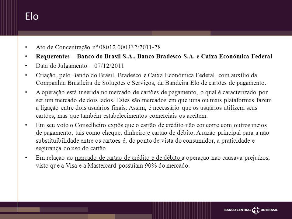 Elo Ato de Concentração nº 08012.000332/2011-28 Requerentes – Banco do Brasil S.A., Banco Bradesco S.A.