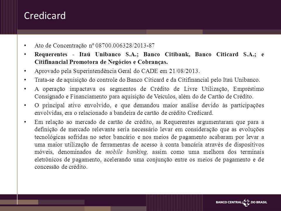 Credicard Ato de Concentração nº 08700.006328/2013-87 Requerentes - Itaú Unibanco S.A.; Banco Citibank, Banco Citicard S.A.; e Citifinancial Promotora de Negócios e Cobranças.