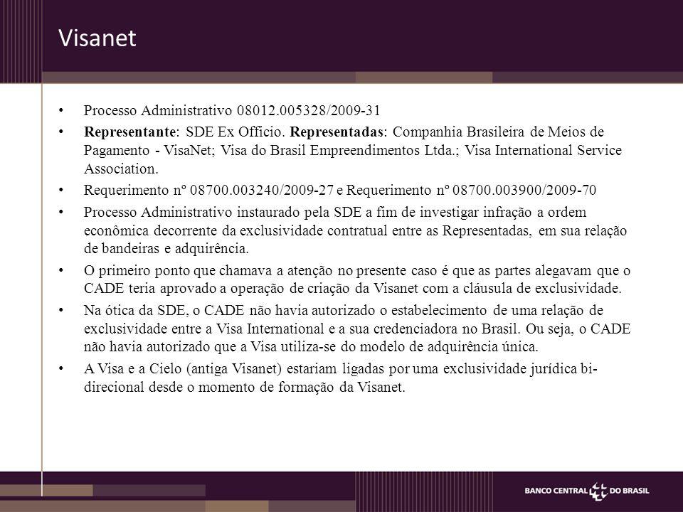 Visanet Processo Administrativo 08012.005328/2009-31 Representante: SDE Ex Officio.