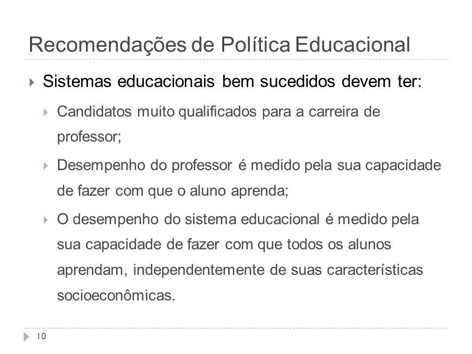 Recomendações de Política Educacional 10  Sistemas educacionais bem sucedidos devem ter:  Candidatos muito qualificados para a carreira de professor