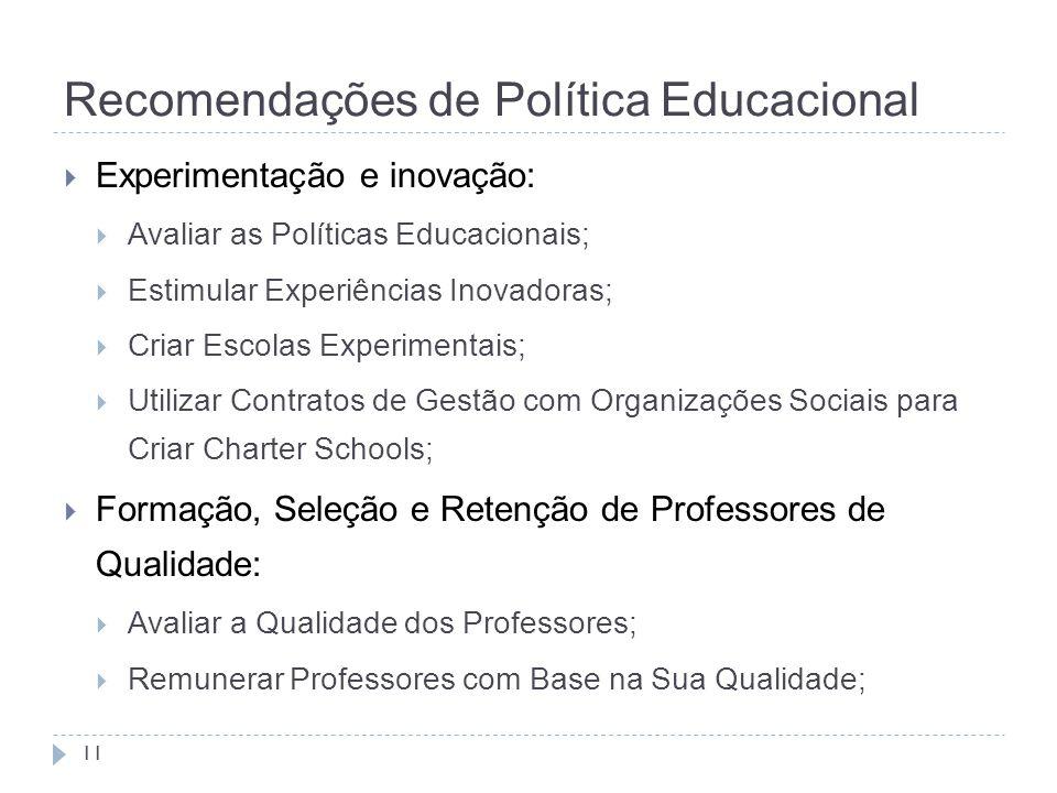 Recomendações de Política Educacional 11  Experimentação e inovação:  Avaliar as Políticas Educacionais;  Estimular Experiências Inovadoras;  Cria