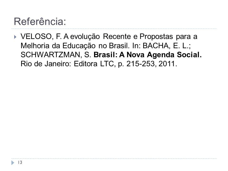 Referência: 13  VELOSO, F. A evolução Recente e Propostas para a Melhoria da Educação no Brasil. In: BACHA, E. L.; SCHWARTZMAN, S. Brasil: A Nova Age