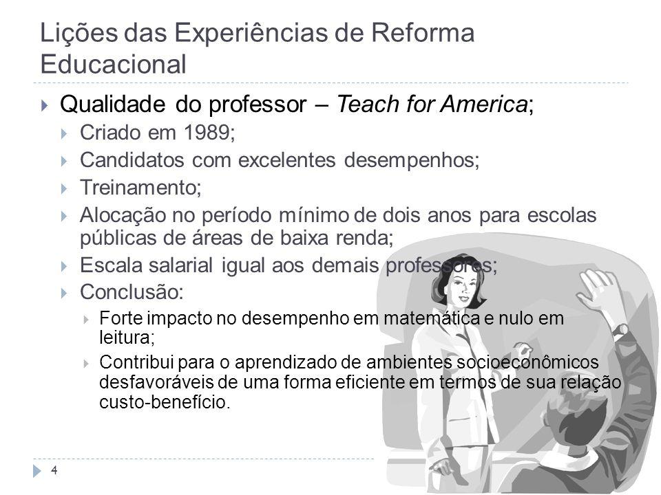 Lições das Experiências de Reforma Educacional 4  Qualidade do professor – Teach for America;  Criado em 1989;  Candidatos com excelentes desempenh