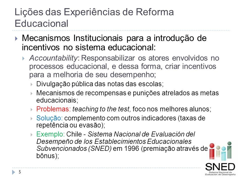 Lições das Experiências de Reforma Educacional 5  Mecanismos Institucionais para a introdução de incentivos no sistema educacional:  Accountability: