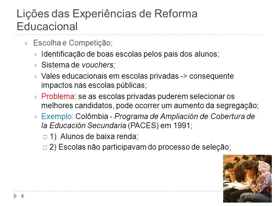 Lições das Experiências de Reforma Educacional 6  Escolha e Competição;  Identificação de boas escolas pelos pais dos alunos;  Sistema de vouchers;