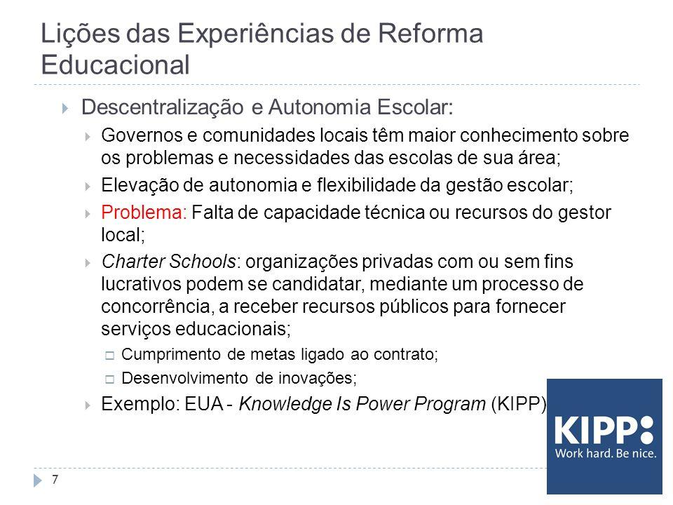 Lições das Experiências de Reforma Educacional 7  Descentralização e Autonomia Escolar:  Governos e comunidades locais têm maior conhecimento sobre