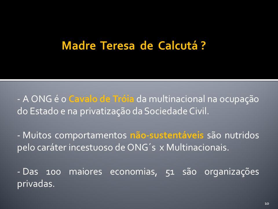 - A ONG é o Cavalo de Tróia da multinacional na ocupação do Estado e na privatização da Sociedade Civil. - Muitos comportamentos não-sustentáveis são