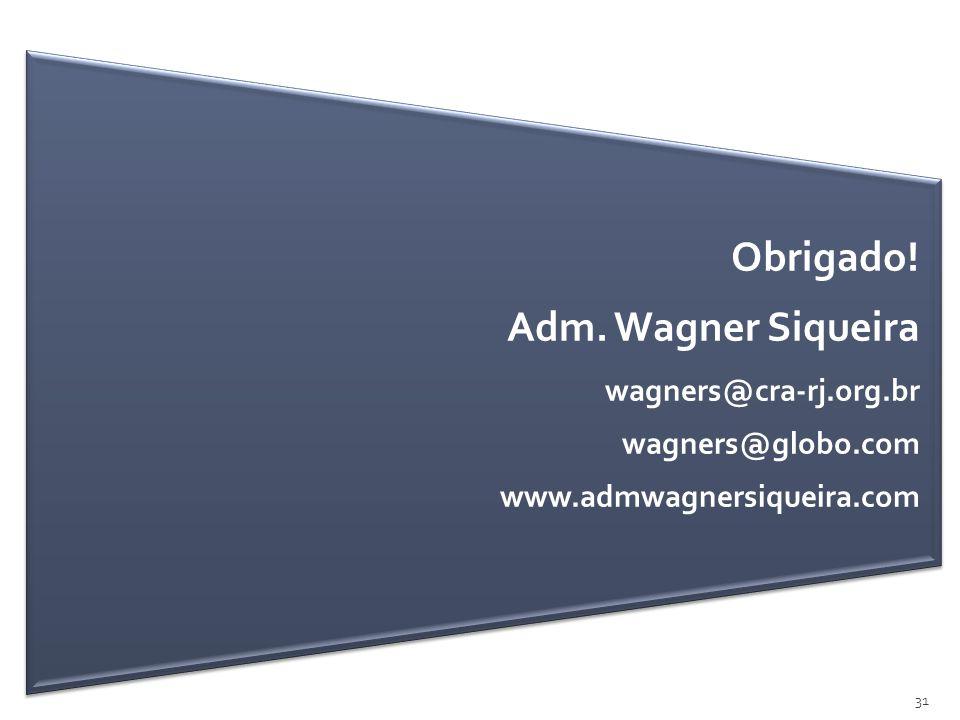 Obrigado! Adm. Wagner Siqueira wagners@cra-rj.org.br wagners@globo.com www.admwagnersiqueira.com 31