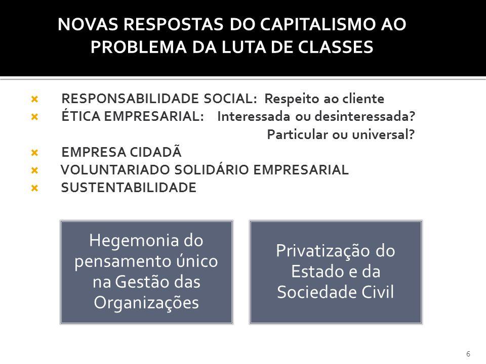 NOVAS RESPOSTAS DO CAPITALISMO AO PROBLEMA DA LUTA DE CLASSES  RESPONSABILIDADE SOCIAL: Respeito ao cliente  ÉTICA EMPRESARIAL: Interessada ou desin
