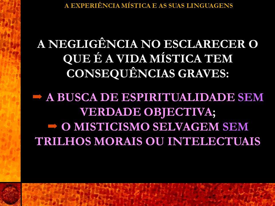 A EXPERIÊNCIA MÍSTICA E AS SUAS LINGUAGENS A NEGLIGÊNCIA NO ESCLARECER O QUE É A VIDA MÍSTICA TEM CONSEQUÊNCIAS GRAVES:  A BUSCA DE ESPIRITUALIDADE SEM VERDADE OBJECTIVA;  O MISTICISMO SELVAGEM SEM TRILHOS MORAIS OU INTELECTUAIS