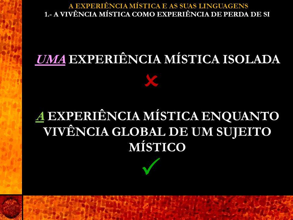 A EXPERIÊNCIA MÍSTICA E AS SUAS LINGUAGENS 1.- A VIVÊNCIA MÍSTICA COMO EXPERIÊNCIA DE PERDA DE SI UMA EXPERIÊNCIA MÍSTICA ISOLADA A EXPERIÊNCIA MÍSTICA ENQUANTO VIVÊNCIA GLOBAL DE UM SUJEITO MÍSTICO  
