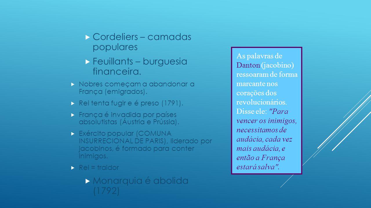  A Convenção Nacional (1792 – 1795):  GirondinosXJacobinos  Set/1792 – Jun/1793: Girondinos no poder.