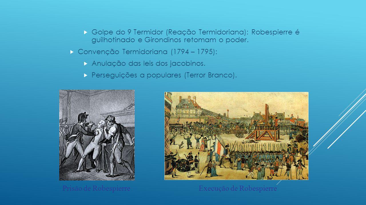 O Diretório (1795 – 1799):  1795: Nova Constituição – 5 diretores (poder executivo), voto censitário.
