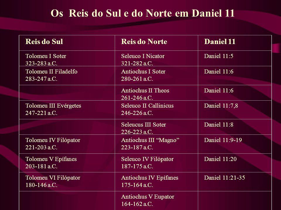 Os Reis do Sul e do Norte em Daniel 11 Reis do SulReis do NorteDaniel 11 Tolomeu I Soter 323-283 a.C. Seleuco I Nicator 321-282 a.C. Daniel 11:5 Tolom