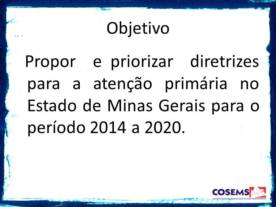Propor e priorizar diretrizes para a atenção primária no Estado de Minas Gerais para o período 2014 a 2020. Objetivo