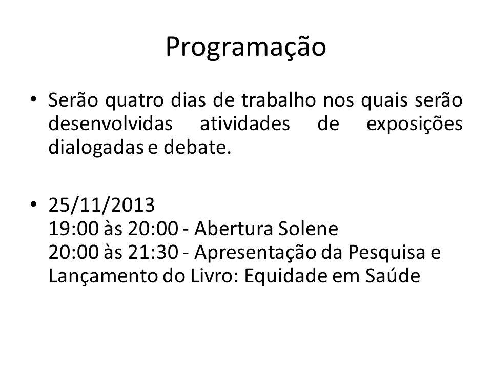 Programação Serão quatro dias de trabalho nos quais serão desenvolvidas atividades de exposições dialogadas e debate. 25/11/2013 19:00 às 20:00 - Aber