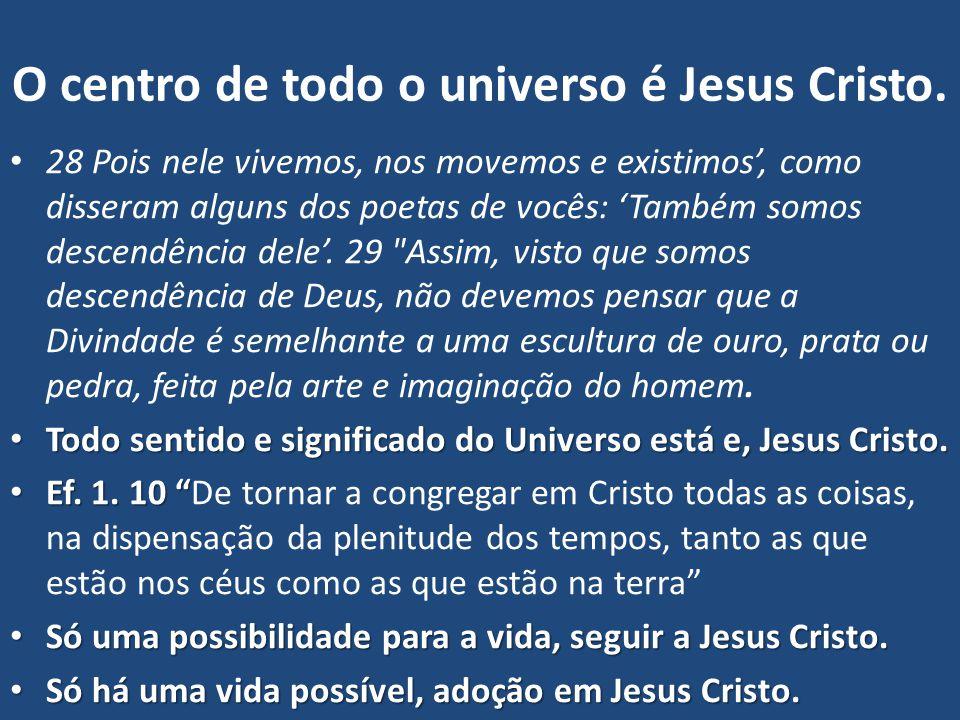 O centro de todo o universo é Jesus Cristo. 28 Pois nele vivemos, nos movemos e existimos', como disseram alguns dos poetas de vocês: 'Também somos de