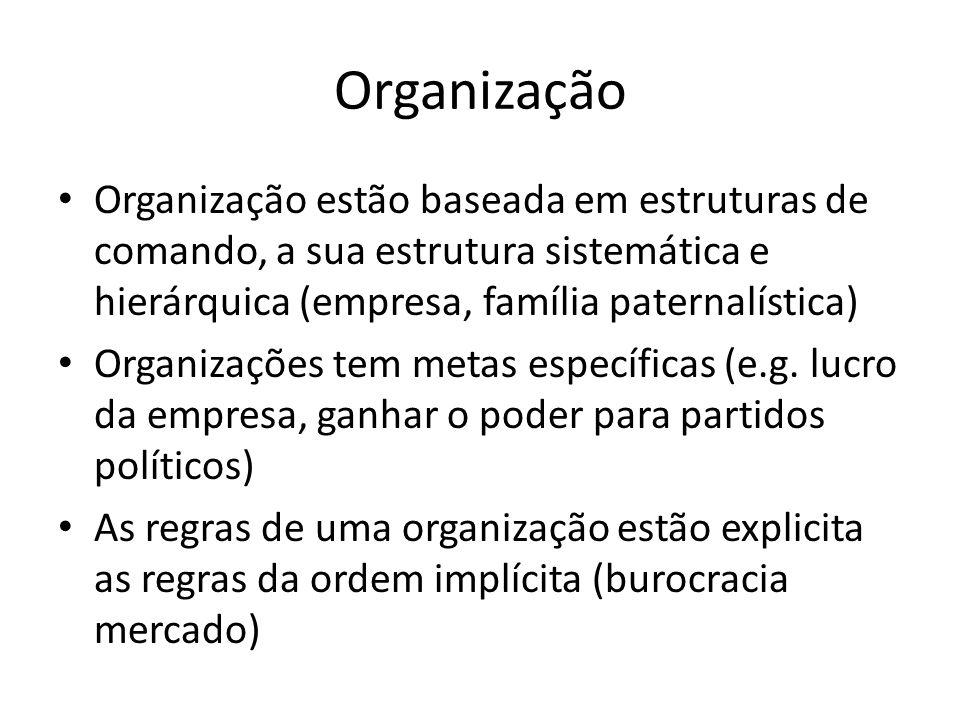 Organização Organização estão baseada em estruturas de comando, a sua estrutura sistemática e hierárquica (empresa, família paternalística) Organizações tem metas específicas (e.g.