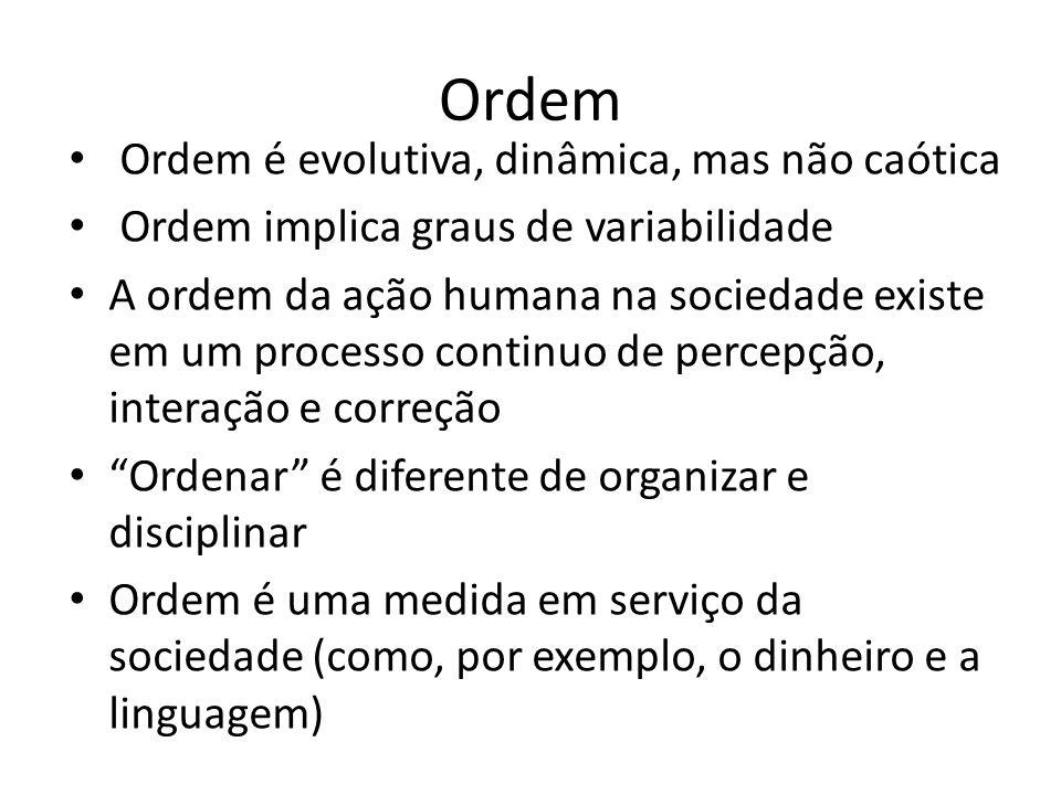 Ordem Ordem é evolutiva, dinâmica, mas não caótica Ordem implica graus de variabilidade A ordem da ação humana na sociedade existe em um processo continuo de percepção, interação e correção Ordenar é diferente de organizar e disciplinar Ordem é uma medida em serviço da sociedade (como, por exemplo, o dinheiro e a linguagem)