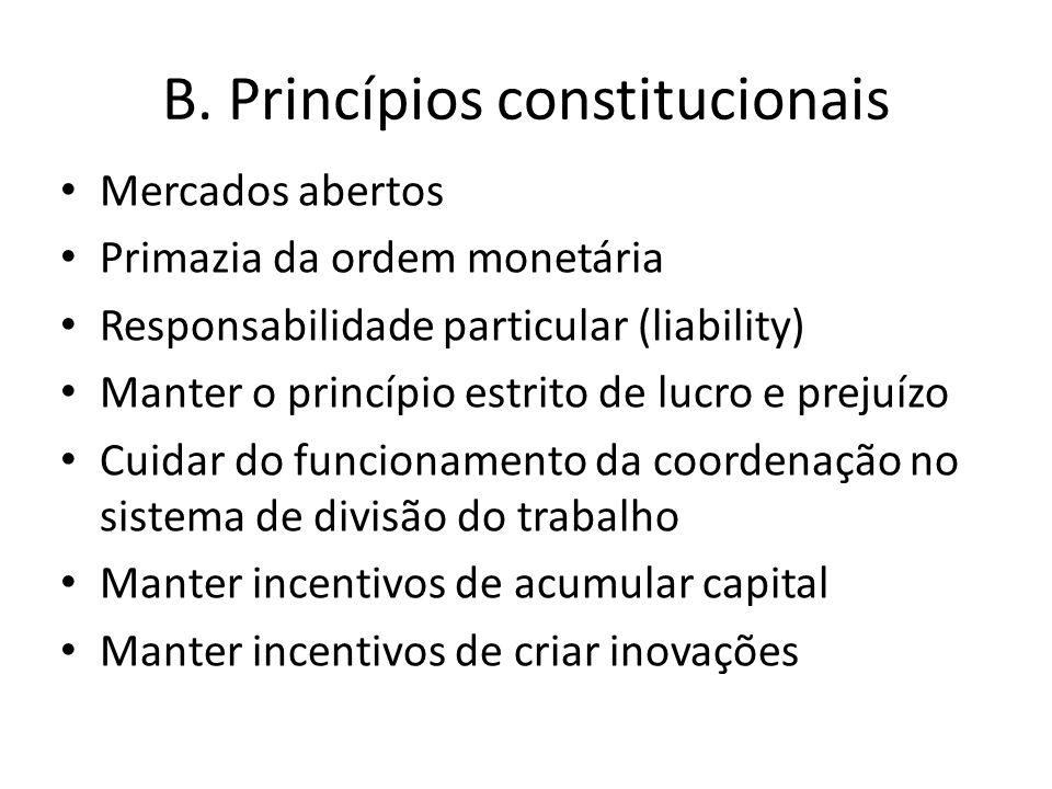 B. Princípios constitucionais Mercados abertos Primazia da ordem monetária Responsabilidade particular (liability) Manter o princípio estrito de lucro