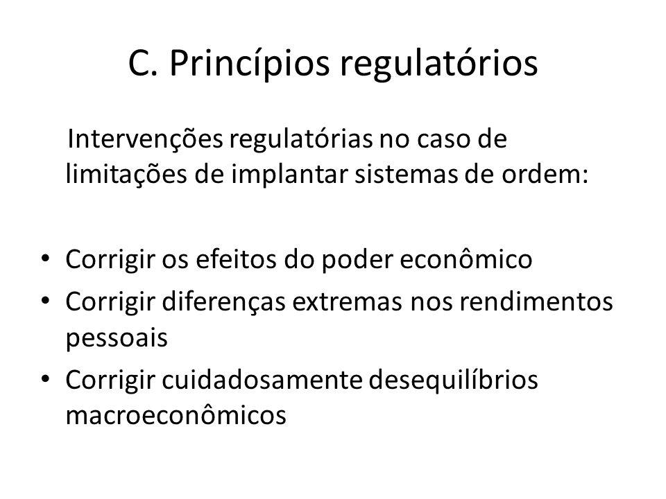 C. Princípios regulatórios Intervenções regulatórias no caso de limitações de implantar sistemas de ordem: Corrigir os efeitos do poder econômico Corr