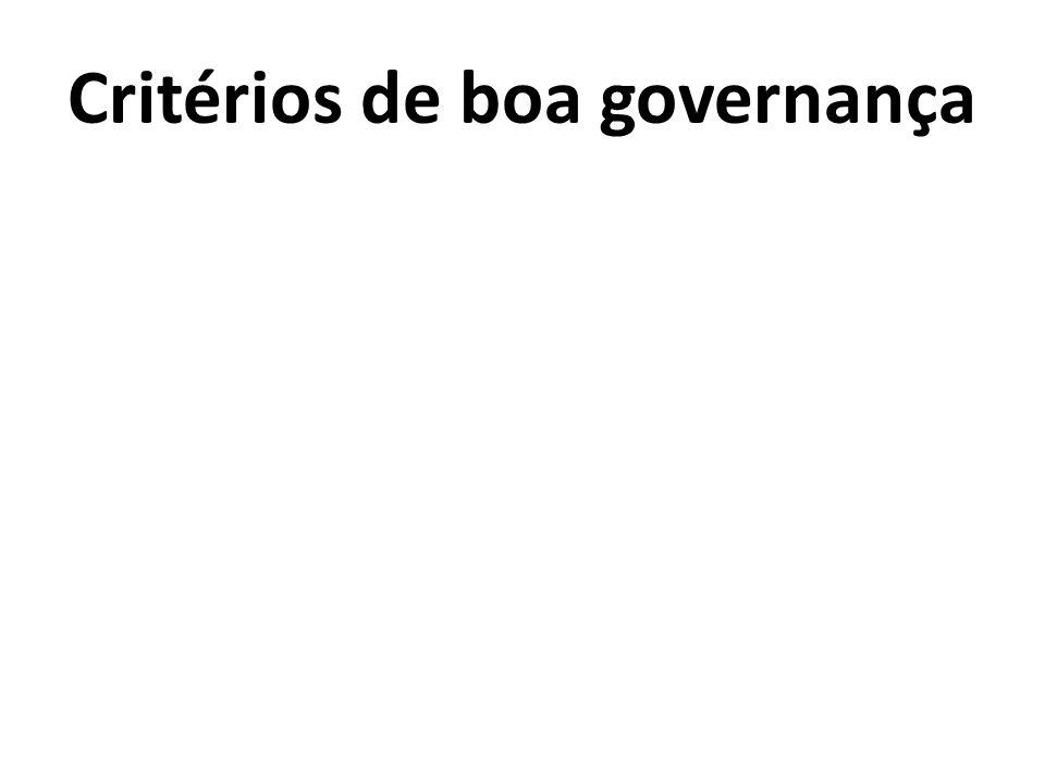 Critérios de boa governança