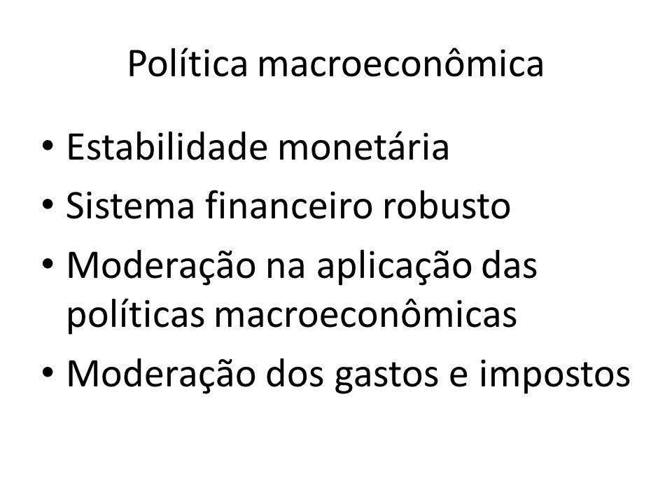 Política macroeconômica Estabilidade monetária Sistema financeiro robusto Moderação na aplicação das políticas macroeconômicas Moderação dos gastos e impostos