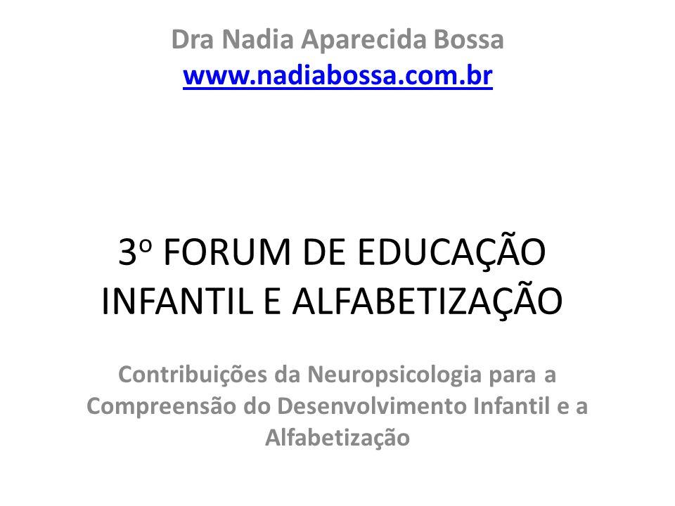 Dra Nadia Aparecida Bossa www.nadiabossa.com.br www.nadiabossa.com.br Contribuições da Neuropsicologia para a Compreensão do Desenvolvimento Infantil e a Alfabetização 3 o FORUM DE EDUCAÇÃO INFANTIL E ALFABETIZAÇÃO