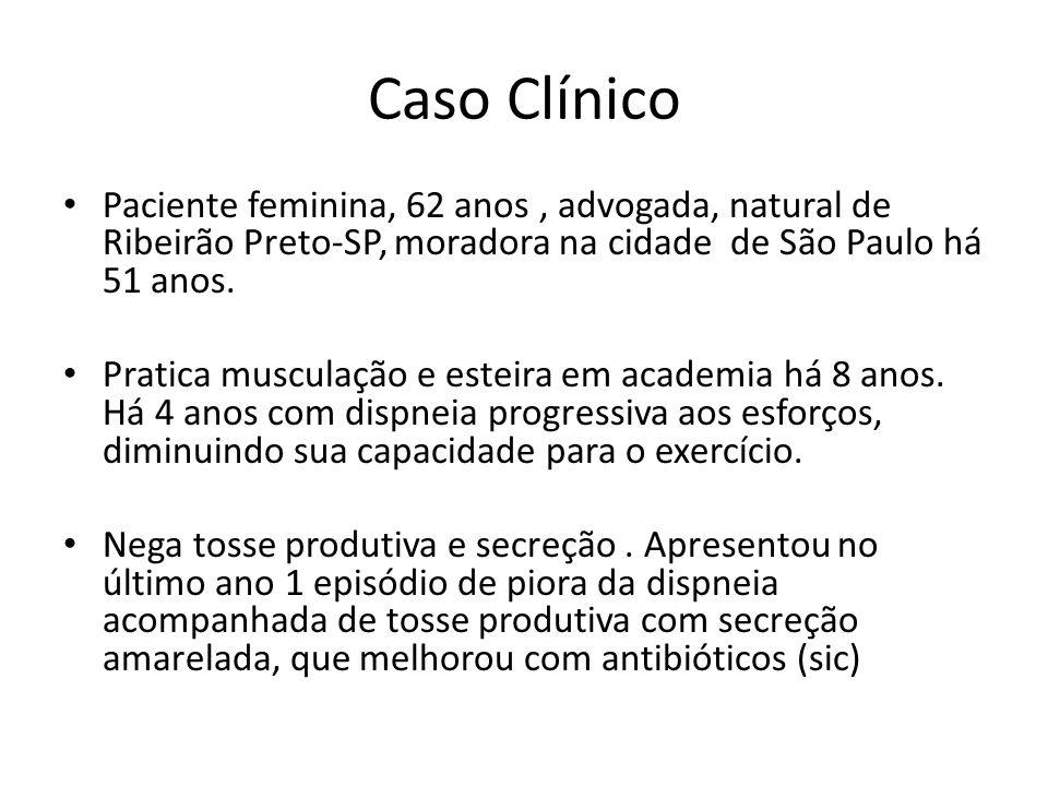 Caso Clínico Paciente feminina, 62 anos, advogada, natural de Ribeirão Preto-SP, moradora na cidade de São Paulo há 51 anos. Pratica musculação e este