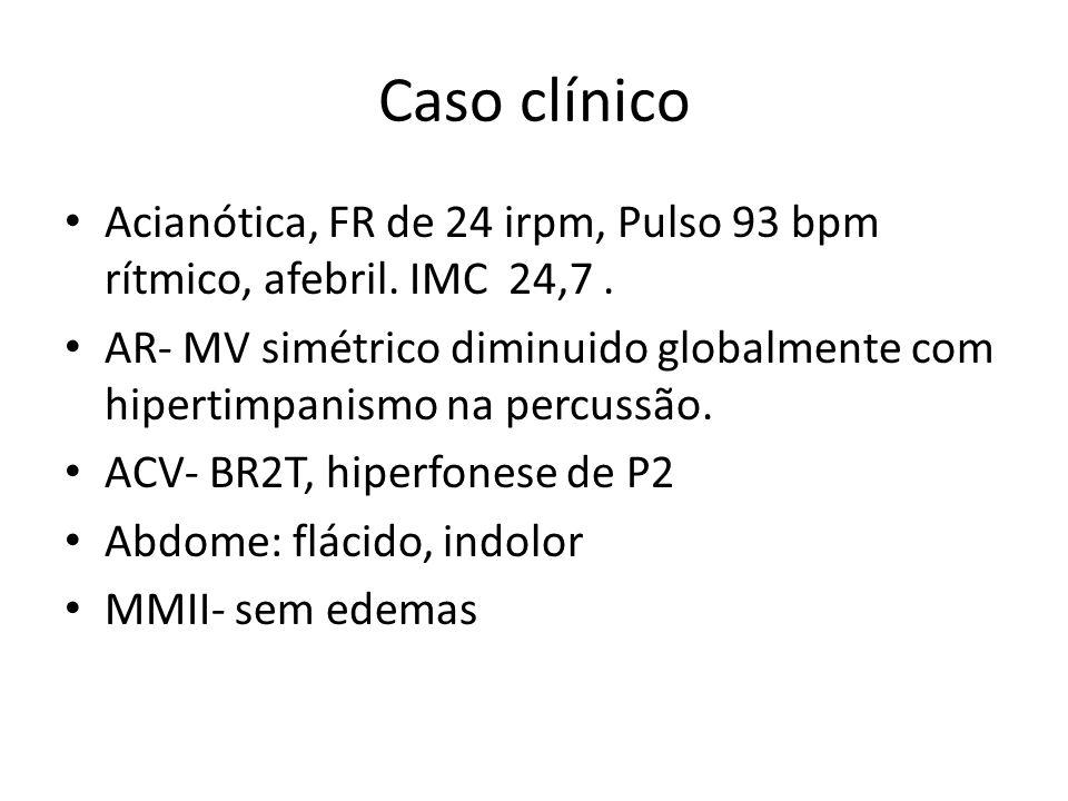 Caso clínico Acianótica, FR de 24 irpm, Pulso 93 bpm rítmico, afebril. IMC 24,7. AR- MV simétrico diminuido globalmente com hipertimpanismo na percuss