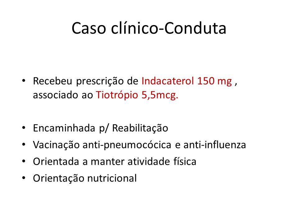 Caso clínico-Conduta Recebeu prescrição de Indacaterol 150 mg, associado ao Tiotrópio 5,5mcg. Encaminhada p/ Reabilitação Vacinação anti-pneumocócica