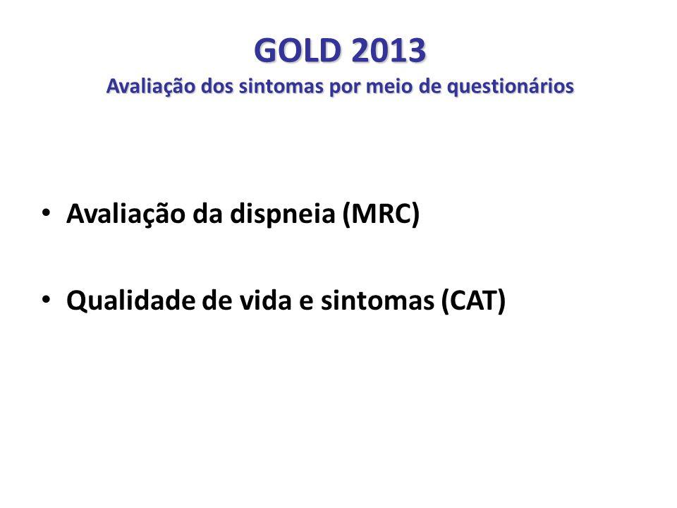 GOLD 2013 Avaliação dos sintomas por meio de questionários Avaliação da dispneia (MRC) Qualidade de vida e sintomas (CAT) Recomendações GOLD - 2011