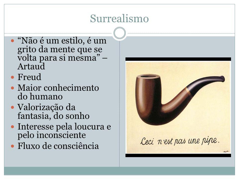 """Surrealismo """"Não é um estilo, é um grito da mente que se volta para si mesma"""" – Artaud Freud Maior conhecimento do humano Valorização da fantasia, do"""